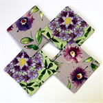4 x Reversible Fabric Coasters - Purple & Green Wisteria Flowers