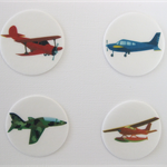 12 PRE CUT EDIBLE AEROPLANE PLANE RICE PAPER WAFER CARD CUPCAKE  TOPPERS