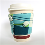 Coffee Cup Cuff - Blue, Green & White Tartan