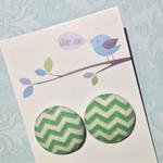 Mint Green Chevron 23mm earrings