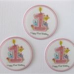 12 PRE CUT EDIBLE 1ST FIRST BIRTHDAY RICE PAPER WAFER CARD CUPCAKE  TOPPERS
