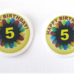 12 PRE CUT EDIBLE HAPPY FIFTH 5TH BIRTHDAY RICE PAPER WAFER CARD CAKE  TOPPERS
