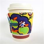 Coffee Cup Cuff - Green Apples & Rainbow