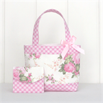 Mini Tote Bag & Purse - Pink & Cream Floral