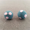 SALE: Polymer Clay Earrings - Blue with Pink Spots