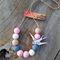 ~ Geo Triangle Bird Jewellery Set ~ Pastel Pink