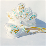 Tiara Crown and Wand Set - White Mint and Gold - Confetti Fabric