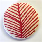 BIG Button Brooch - Dusty Rose Pink Line Leaf