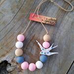 Triangle Geo Bird Necklace - Pastel Pink