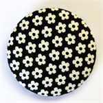 BIG Button Brooch - Tiny flowers on black.