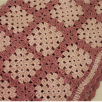 Pink Crocheted Granny Square baby blanket  - Cotton