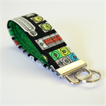 Wrist Key Fob - Nerdy Neon Computer Ports on Black