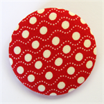 BIG Button Brooch - Cream spot dots on Red