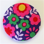 BIG Button Brooch - Bright Flowers on violet