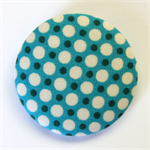 BIG Button Brooch - White Polka Dots on Blue