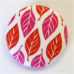 BIG Button Brooch - Fushia Pink & Orange Leaves