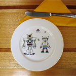 ROBOTS for a little boy. Hand painted plate 
