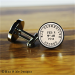Personalised stainless steel cufflinks - new baby, new Dad, Father's Day gift