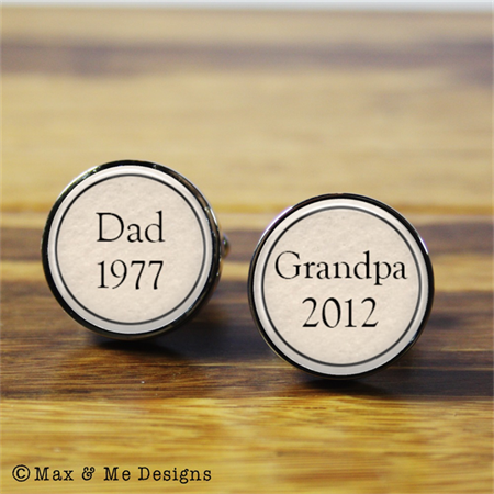 Dad to Grandpa stainless steel cufflinks - New baby, Father's Day