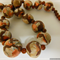 Necklace in brown, white & copper