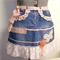 LADIES HALF APRON Recycled and Re-Purposed Denim and Pink Lace, Boho, Shabby and