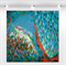 """XLarge original painting - """"Abstract #56' -91x91cm. Turquoise teal blue, bronze"""