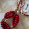 Red/natural combination Wood bead necklace