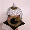 WIRE CLOCHE ALTERED Art, Mixed Media, Dormouse in Nest, Glass Pedestal
