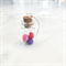 Jar of miniature Macaron / macaroon necklace (pinks & purples)
