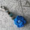 Blue Crocheted Flower Key Chain