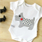 Unisex baby bodysuit, Baby onesie with dog applique. Onepiece with Scottie Dog