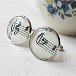 Music Cuff Links Cufflinks Wedding Groom Father Silver Black White
