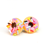 Pastel pink iced donut stud earrings - with long sprinkles