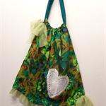 GREEN FLORAL BOHO Style Bag, Large, Barkcloth, Vintage Doilies