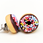 Donut Studs - Chocolate donut stud earrings - Doughnut studs