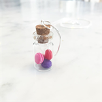 Jar of miniature Macaron / macaroon necklace (pinks & purples)