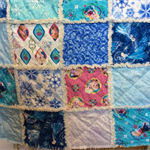 """Large Single Bed """"Frozen"""" Ragged Quilt"""
