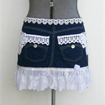 LADIES HALF APRON Recycled and Re-Purposed Denim and Lace
