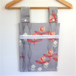 Laundry Fun Peg Bag - Orange & White Abstract Circle Flowers on Grey