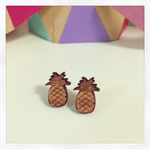 Laser Cut Wooden Pineapple Earrings