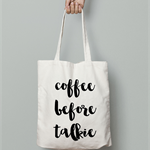 Coffee first calico tote bag canvas market beach bag shopper