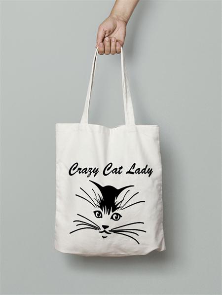 Crazy cat Lady calico tote bag canvas market beach bag shopper