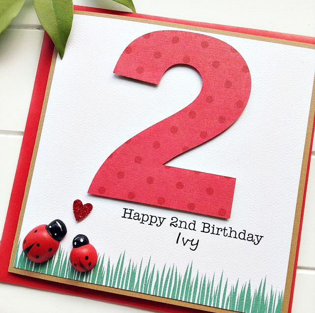 Any Age Birthday Personalised Ladybug Card Children Kids Custom 1 2 3 4 5 6 7 8