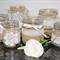 6 x Lace Hessian Burlap Glass Jars Vases Vintage Rustic Chic Wedding Table Decor