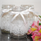 6 x Lace Ribbon Glass Jars Vases Vintage Rustic Chic Wedding Table Decorations