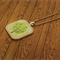 Green floral tree, glass tile necklace