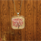 Pink floral glass tile necklace