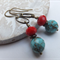 Antique Bronze Turquoise and Red Rondelle Earrings