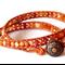 Orange Carnelian Wrap Leather Bracelet