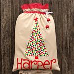 Linen/Spot Santa Sack (3 letters)